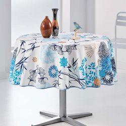 Tafelkleed mix van bloemen en blauwe bladeren 160 rond Franse Tafelkleden