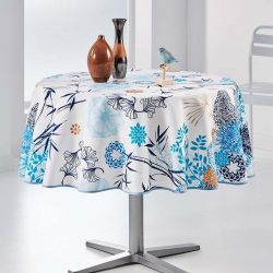 Tischtuch mix von Blumen und blauen Blättern 160 runde Französisch tischdecken