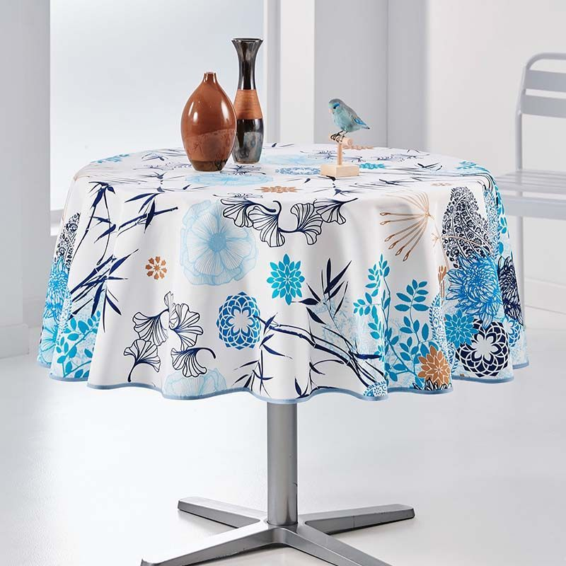 Tablecloth mix of flowers and blue leaves 160 round French tablecloths