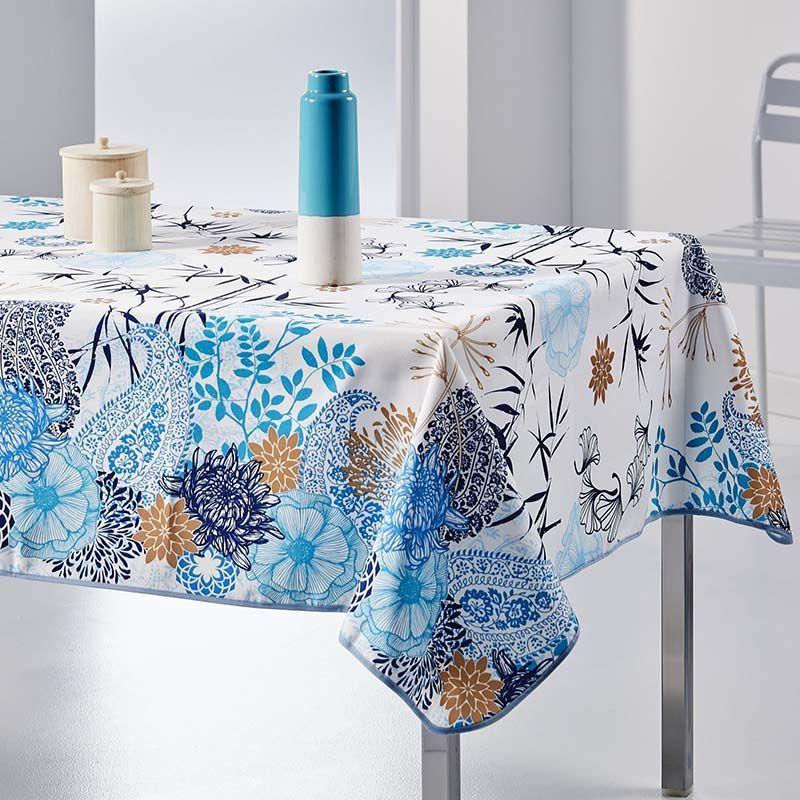 Nappe rectangulaire 240x148 cm fleurs et feuilles bleu français Nappes