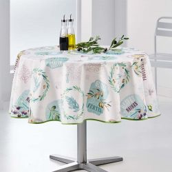 Table cloth ecru with olives, French Provence 160 around Tablecoverings