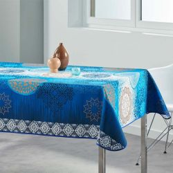 Rectangular tablecloth 240x148 cm blue, white meditation French Tablecloths