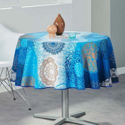 Tischtuch blau, weiß Meditation 160 runde Französisch tischdecken