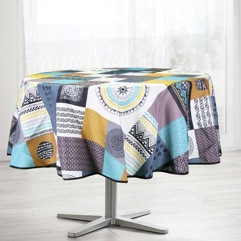 Tablecloth multicolored squares around 160 French Tablecloths