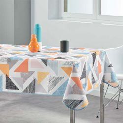 Tischdecke 240x148 cm Rechteckweiss bunte Dreiecken Französisch Tischdecken