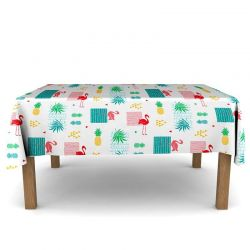 Tablecloth flamingo with leaves 300 X 148 French tablecloths