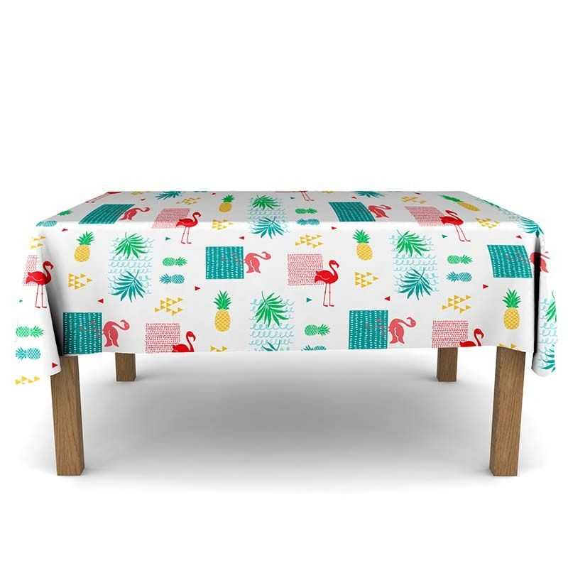Tablecloth flamingo with leaves 350 X 148 French tablecloths