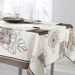 Tischdecke weiße Taupe Blumen 200 X 148 französische Tischdecke