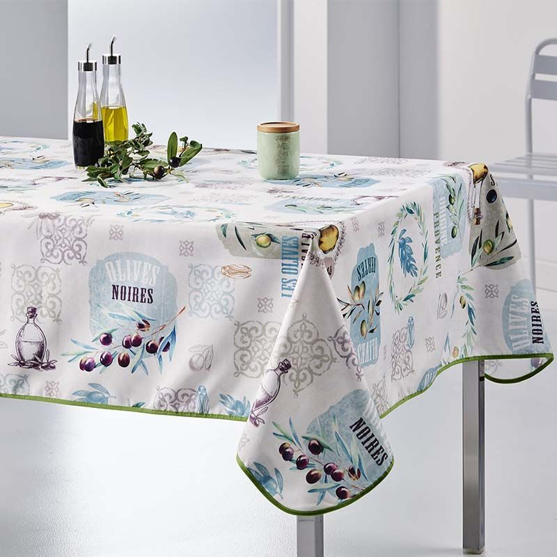 Rectangular tablecloth 300x148 cm ecru with olives, Provence French Tablecloths