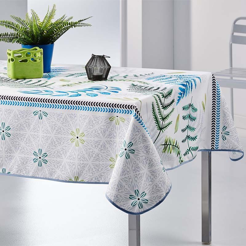 Tablecloth 300x148 cm Rectangle white with leavs French tablecloths