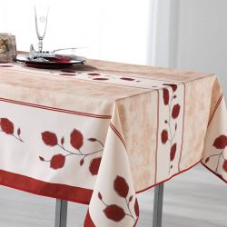 Tablecloth red, beige and white with leaves 200 X 148 French tablecloths
