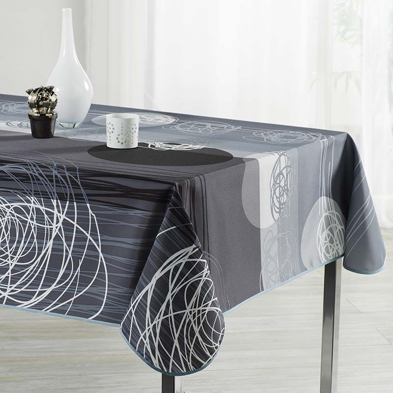 Tablecloth gray black stripes and circles 200 X 148 French tablecloths. Camping and terrace, inside and out.