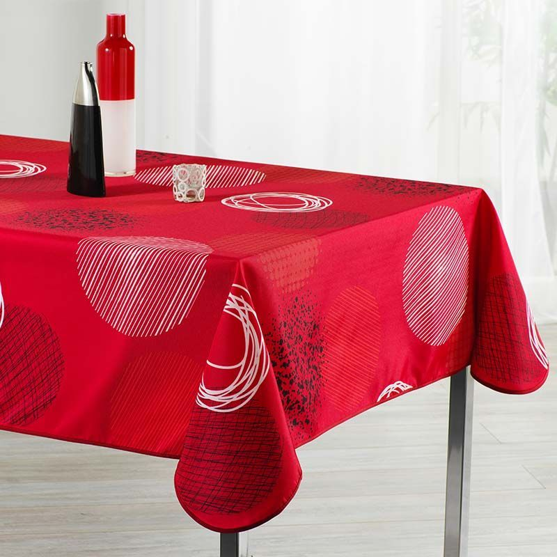 Tablecloth red with circles 200 X 148 French tablecloths