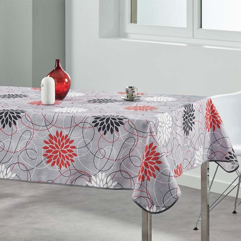 Tablecloth gray flowers red 160 cm French tablecloths