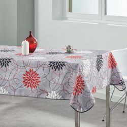 Tablecloth gray flowers red 300 X 148 French tablecloths
