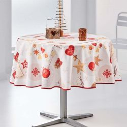 Tablecloth beige christmas 160 cm French tablecloths
