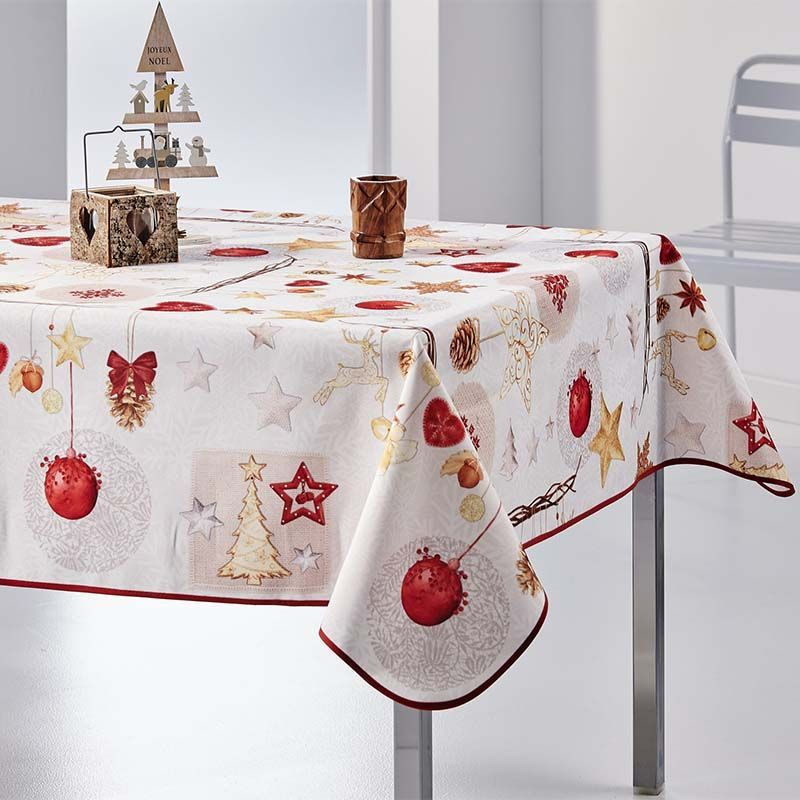 Tablecloth beige christmas 200 X 148 French tablecloths