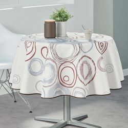 Tablecloth beige with circles 160 round French tablecloths