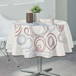 Tischtuch beige mit Kreisen 160 runde Französisch tischdecken