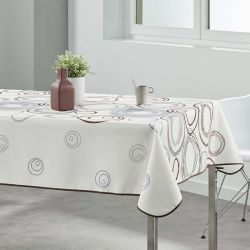 Tablecloth beige with circles 300 X 148 French tablecloths