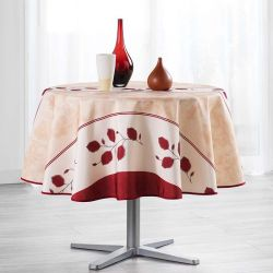 Tablecloth red, beige and white with leaves 160 cm French tablecloths