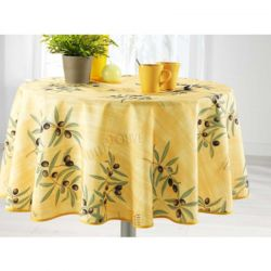 yellow tablecloth with olives and leaves Round 160 French tablecloths