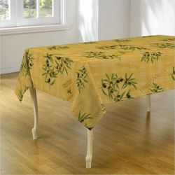 Yellow tablecloth with olives and leaves 200 X 148 French tablecloths