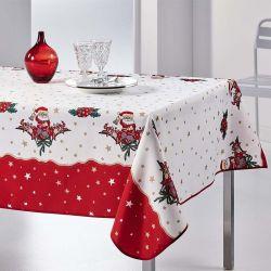 Tischdecke 300x148 cm Rechteck weiß rot Weihnachten Santa Französisch Tischdecken