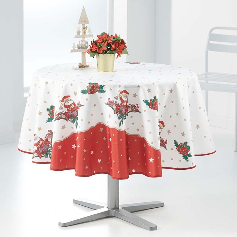 Tablecloth 160 cm white red Christmas Santa French Tablecloths