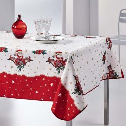 Tafelkleed 350x148 cm Rechthoek wit rood kerst kerstman Franse Tafelkleden