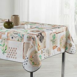 Ecru tablecloth with squares and olive 240 X 148 French Tablecloths