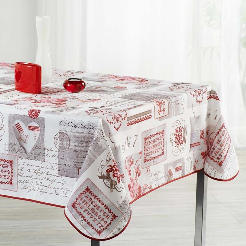 Tablecloth beige with lettering 240 X 148 French tablecloths