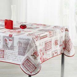 Tischdecke beige mit Schrift 300 X 148 französische Tischdecken