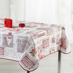 Tablecloth beige with lettering 200 X 148 French tablecloths