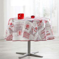 Tischdecke beige mit Schrift 160 cm französische Tischdecken