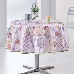 Tischdecke mit Lavendel und lila Oliven rund 160 Französisch Tischdecken