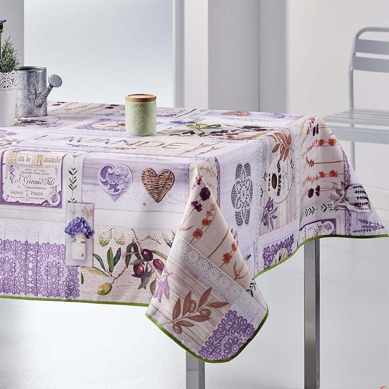 Tablecloth with lavender and purple olives rectangle 300 French Tablecoverings