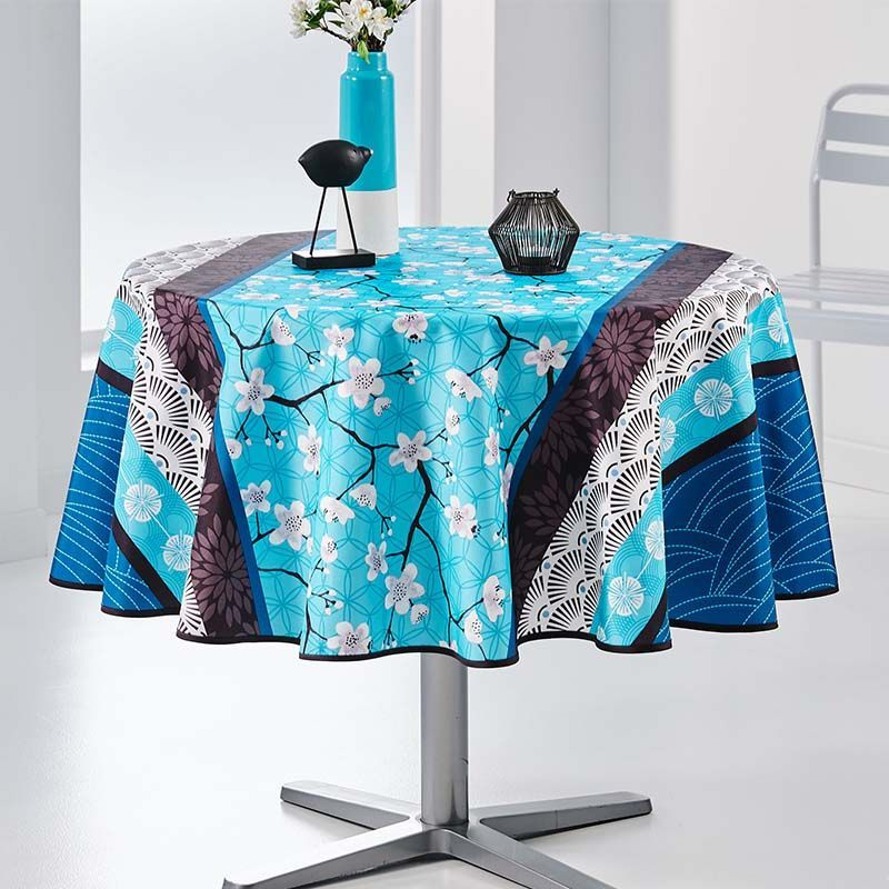 Tablecloth blue with white blossom Round 160