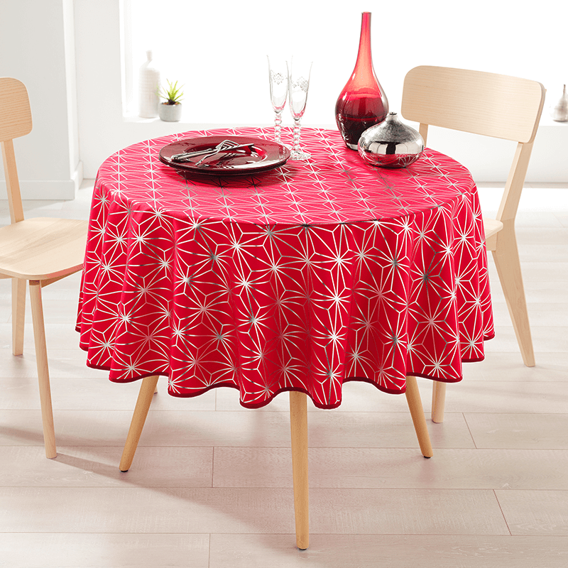 Tablecloth red with silver stars 160 cm round French Tablecoverings