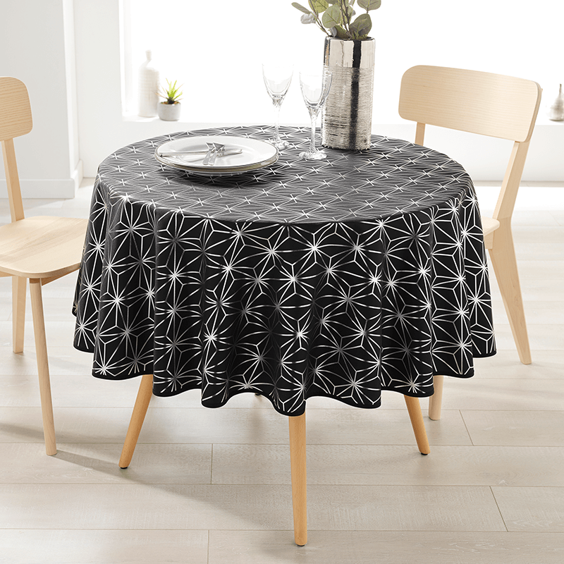 Tablecloth black with silver stars round 160 French Tablecoverings