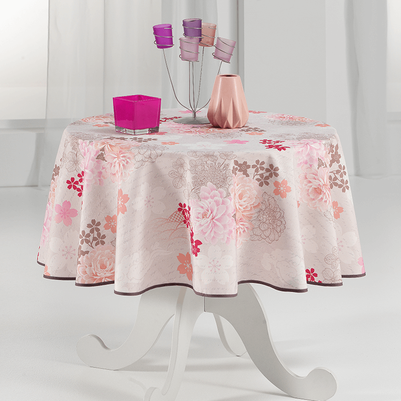 Tablecloth beige with pink flowers round 160cm French Tablecoverings