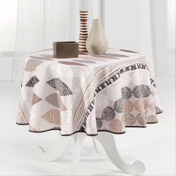 Tablecloth beige with leaves 160cm French tablecloths