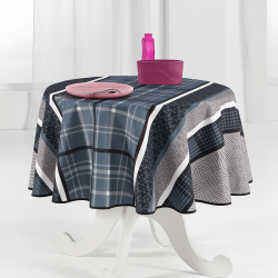 Tablecloth blue with modern check 160 round French tablecloths