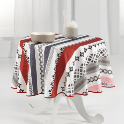Tablecloth red modern and bright round 160cm French Tablecoverings