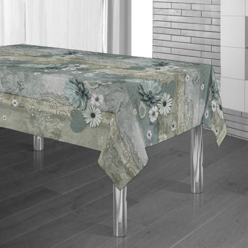 Tablecloth turquoise with water lilies and hearts 300 X 148 French tablecloths