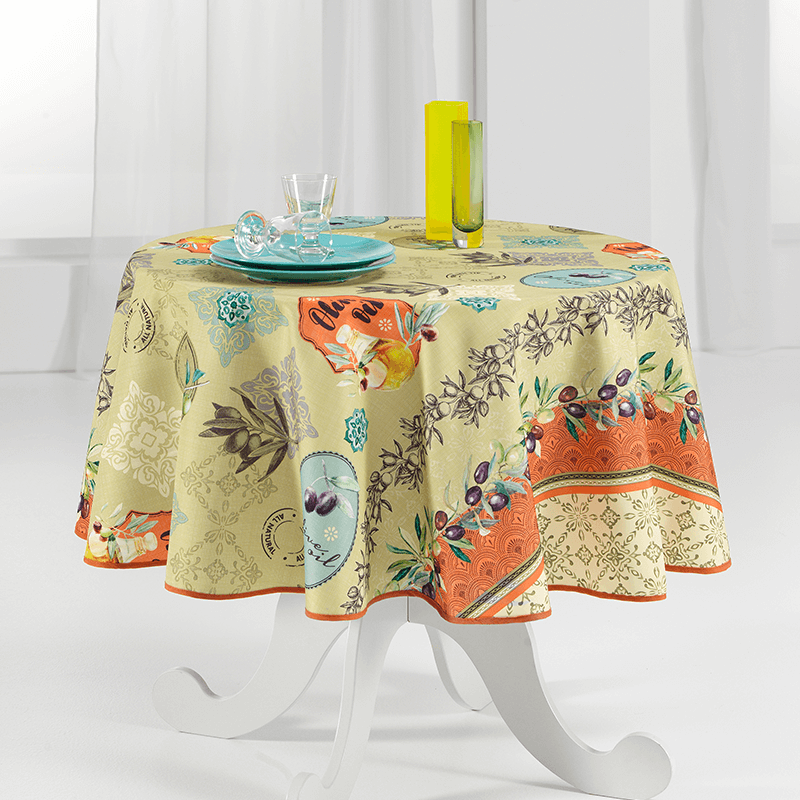 Tablecloth with Provencal olives round 160cm French Tablecoverings