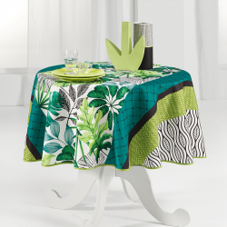 Round tablecloth 160 cm fresh green leaves French Tablecloths