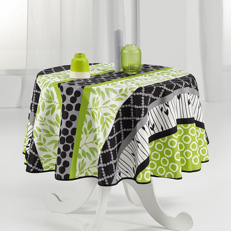 Rround tablecloth 160 cm green and modern French Tablecloths