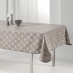 Tischdecke 240x148 cm Rechteckweiss silbernen Sternen Französisch Tischdecken