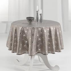 Tischdecke 160 cm Rund silbernen Sternen Französisch Tischdecken